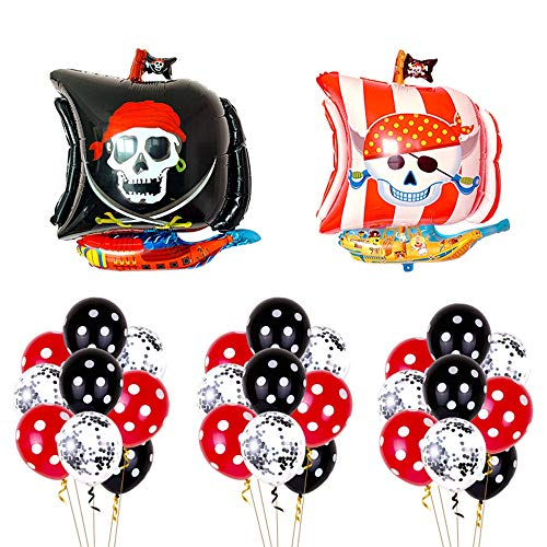Haosell 27 Stück Piraten Party Luftballons, Piraten Party Geburtstag Deko Piraten Kindergeburtstag Geburtstagsfeier Dekorationen für Kinder Jungen, Party Dekoration Folienballons Piraten
