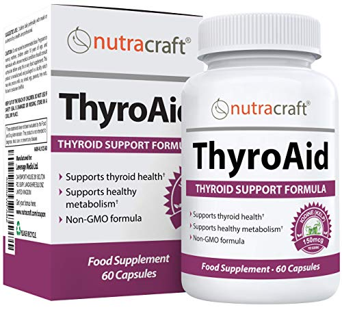 ThyroAid #1 Thyroid Support Supplement | Advanced Thyroid Formula & Increase Energy | Kelp, Iodine, L-Tyrosine, Selenium, B12, Copper & More | 60 Capsules