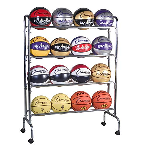 Champion Sports Ball Cart, 4 Tier, Holds 16 Balls