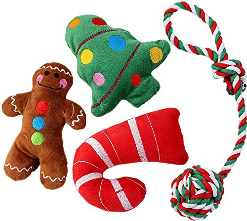 JPB 4 Pack Christmas Dog Toys Squeaky Plush Puppy Toy for Small Dogs