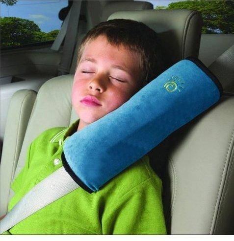 Almohadillas para Cinturón, Bebé niños Ajustable Correa De Seguridad Almohada Hombro Proteccion Cinturones De Seguridad De Coches Reposacabezas [Tener Un Buen Dormir En El Coche] (Azul)