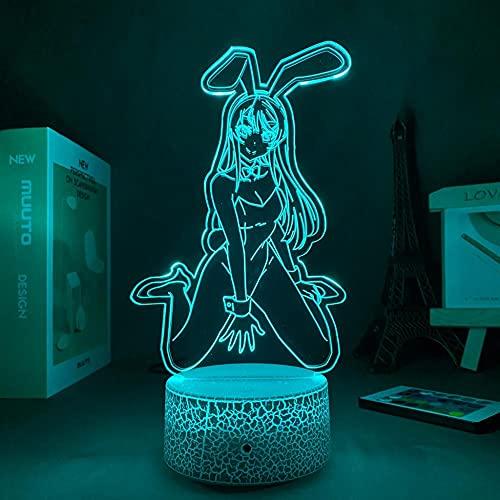 Lámpara de ilusión 3D Mood Led Luz de noche Waifu Acrylic Sakurajima Ideal Interior decorativo para dormitorio Friend-Crack Base_With Remote