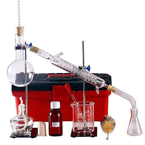 Destillationsapparat, Laborglas, Wasserdestillation, Industrie, wissenschaftlich zur Herstellung von ätherischen Ölen, Alkohol-Destillator, Reiniger, Destillationsgerät-Set, 23-teiliges Set (250 ml)