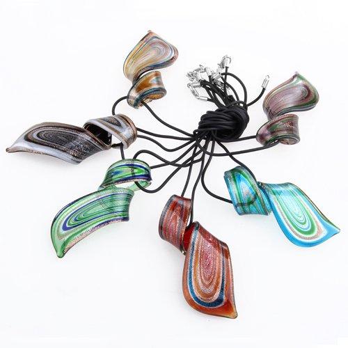 Ecloud Shop 6PCS mezcló el Collar Pendiente cristalino de la torcedura del Claro de Las Raya