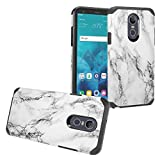 Z-GEN - Compatible for LG Stylo 4 (2018), Stylo4+ Plus, LM-Q710, LM-L713DL - Hybrid Image Phone Case + Tempered Glass Screen Protector - AD1 White Marble