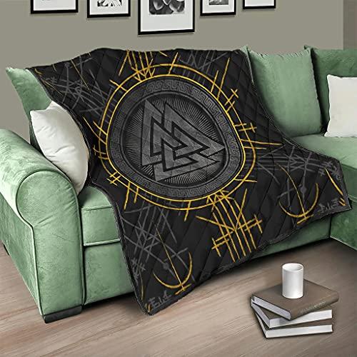 Flowerhome Colcha de runas vikingas, colcha para cama, sofá, manta para dormir, reversible, para adultos y niños, color blanco, 200 x 230 cm