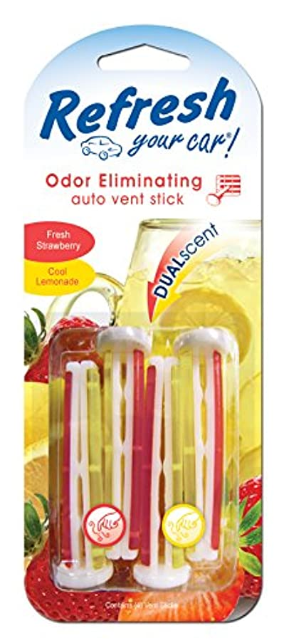 Refresh Your Car! E300889100 Dual Scent Vent Stick, Fresh Strawberry and Cool Lemonade, 4 Per Pack