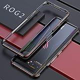 ASUS ROG Phone II バンパー ケース アルミ DINGXIN 耐衝撃 メタル 枠 日本版 rog2 ZS660KL バンパー [ 超薄型 + 最軽量 ] おしゃれ 人気 rog 2 金属 サイド フレーム 携帯保護カバー ストラップホール付き (ROG Phone II, ブラック+レッド)