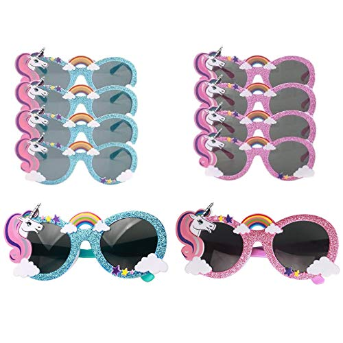 Party Avenue Unicorn Party Sunglasses | (8-Pack) 4-Blue and 4-Pink | Unicorn Shaped Sunglasses | Unicorn Kids Party Supplies | Perfect Unicorn Birthday Party Favor