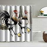 SUHOM Duschvorhang,Farmhouse Schwarzweiss-Kunsttintenmalerei Zwei große Hühner & Zwei kleine Küken,personalisierte Deko Badezimmer Vorhang,mit Haken,180 * 210