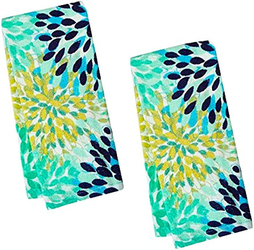 Fiesta Calypso Turquoise Floral Terry Kitchen Towel Set Of 2