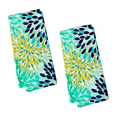 Fiesta Calypso Turquoise Floral Terry Kitchen Towel, Set of 2