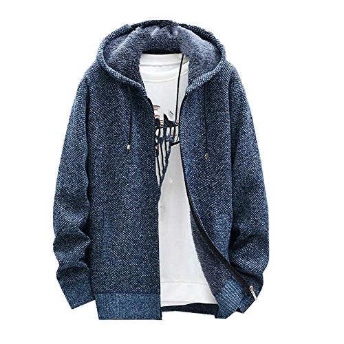 Chaqueta de punto para hombre, con capucha, casual, cálido, holgada, talla grande