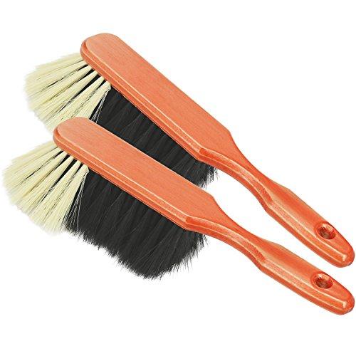 com-four® 2X Handkehrbesen aus Holz - Handfeger mit Rosshaar-Borsten - Handbesen mit Aufhängeloch - ca. 30 cm (2 Stück)