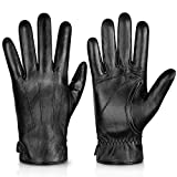 Genuine Sheepskin Leather Gloves For Men, Winter Warm Touchscreen Texting Cashmere Lined Driving Motorcycle Gloves By Alepo(Black-XXL)