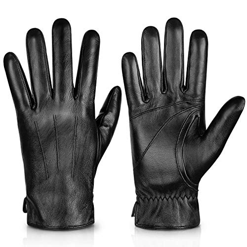 Genuine Sheepskin Leather Gloves For Men, Winter Warm Touchscreen Texting Cashmere Lined Driving Motorcycle Gloves By Alepo(Black-S)