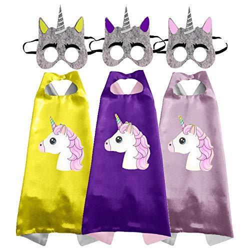 Sweetneed chida yi Capa de Superhroe para Nios-Unicornio - 3Capa y 3Mscaras -Ideas Kit de Valor de Cosplay de Diseo de Fiesta de Cumpleaos de Navidad - Juguetes para Nios y Nias Capes