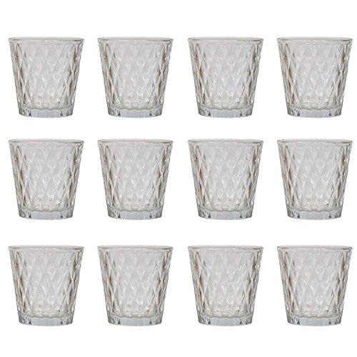 Annastore 12 x Teelichtgläser H 7,5 cm - Windlichter Glas konisch – Teelichthalter - Kerzengläser – Glasteelichthalter - Kerzenwindlicht
