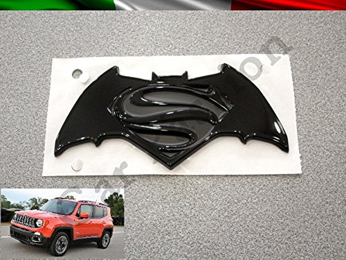 Scritta Stemma Logo Batman VS Superman Dawn of Justice Jeep Renegade Posteriore Originale Nero