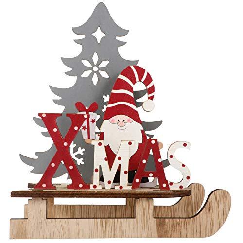 BESPORTBLE Weihnachten Schriftzug Holz Xmas Aufsteller Dekoschild Weihnachtsmann Figur Mini Weihnachtsbaum Schlitten Ornament Kinder Weihnachtsschmuck Neujahr Tischdeko