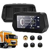 6 Sistema di Monitoraggio della Pressione dei Pneumatici, Grande Schermo TPMS con 6 Sensori Ssterni Energia Solare Sistema di Sllarme Sutomatico della Sressione dei Pneumatici per Camion 0-116 Psi