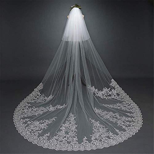 197in - Visillo largo de novia blanco con 2 niveles de boda...