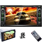Double Din Car DVD Player 7'' High Digital TFT-LCD Touch Screen Bluetooth FM Radio Receiver DVD/CD/MP3/USB/SD/AUX in Dash Car Stereo Autoradio with Backup Camera Remote Control for Toyota Corolla