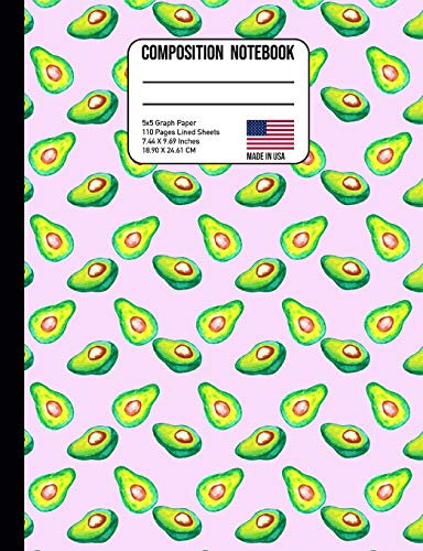 Composition Notebook 5X5 Graph Paper: Watercolor Avocado Tropical Pink Miami Back to School Composition Book for Teachers, Students, Kids and Teens