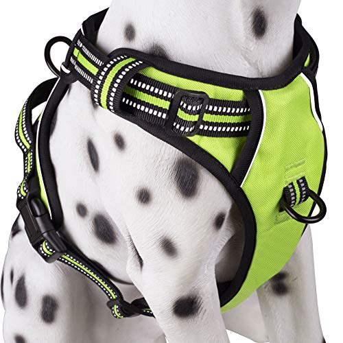 PoyPet No Pull Dog Harness, Reflective Vest Harness with 2 Leash Attachments and Easy Control Handle(Green,M)