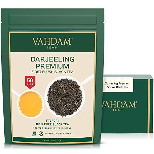 VAHDAM, First Flush Darjeeling-Tee (50 Tassen) - blumig, aromatisch & köstlich - gepflückt, verpackt & versandt direkt aus Indien, Darjeeling-Tee First Flush, 100g