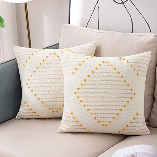 Juego de 2 Fundas Cojines Boho, Fundas de Cojines Decorativos Geométrica Tejida Moderna para Sofa Camas Dormitorio Salón 45x45cm, Amarillo y Blanco