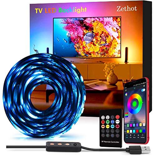 Tiras LED 3.5M, Tira de luces retroiluminadas USB para TV de 55' a 65', Control de aplicaciones con 16 millones de colores, Brillo ajustable, Alimentación por USB(APP+control remoto)