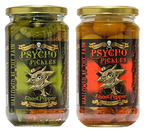 Psycho Pickles Combo - Ghost Pepper Pickled Onions And Ghost Pepper Pickled Gherkins
