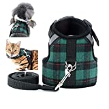 Zunea Pet Small Dog Cat Harness and Lead Set No Pull Puppy Vest Harnesses Adjustable Reflective <span class='highlight'>Plaid</span> Harness for Chihuahua Kitten Escape Proof for Walking <span class='highlight'>Green</span> L
