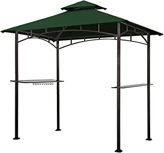 Keymaya 8'x5' Grill Gazebo Shelter for Patio and Outdoor Living BBQ Shelter Tent, Double Tier Soft Top Canopy and Steel Frame with Bar Counters, Bonus LED Light (Forest Green)