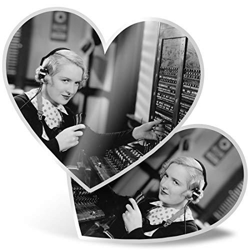 Impresionante 2 pegatinas de corazón de 7,5 cm – Retro Switchboard operador de teléfono vintage divertido calcomanías para computadoras portátiles, tabletas, equipaje, libros de chatarra, neveras, regalo genial #24282