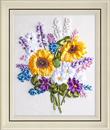 Ribbon embroidery Kit,Fanryn 3D Silk ribbon embroidery Sunflower Flowers pattern design Cross Stitch Kit Embroidery for beginner DIY Handwork Home Decoration Wall Decor 40x50cm (No frame)