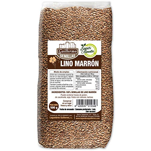 Guillermo Semillas de Lino Marrón Linaza 100% Natural 500gr - Pack (1)