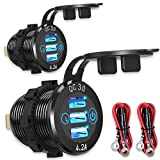 12V USB Aluminum Car Charger [2-Pack], Qidoe Quick Charge 3.0/4.2A Triple USB Outlet 12V Socket with Touch Power Switch, Waterproof Car Adapter for Car Boat Marine Bus Truck Golf Cart RV Motorcycle