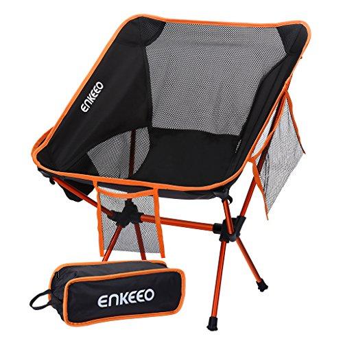 ENKEEO Campingstuhl Faltstuhl Klappbar Campingstühle Ultraleicht Angelstuhl Klappstuhl Moonchair Camping Hocker mit Rückenlehne, Tragetasche für Angeln, Wandern, Picknick, bis zu 150kg (Orange)