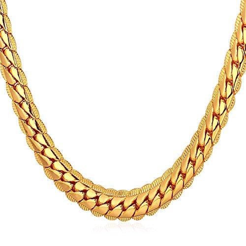 U7 Herren Erbskette Halskette 6mm breit Rundpanzerkette - Mesh Englische Collier Gelbgold überzogen Gliederkette für Männer Jungen 51cm lang, Gold