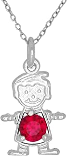 Happy Baby Boy Sterling Silver January Dark Red Birthstone Pendant Necklace and Chain