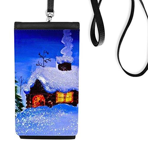 DIYthinker olieverfschilderij winter boom huis sneeuw schoorsteen rook Illustratie patroon imitatieleer Smartphone opknoping portemonnee zwart telefoon portemonnee cadeau