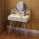 KaminHome - Tocador Dormitorio Amelia Mesa con Dos cajones Ideal para Maquillaje...