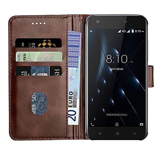 Baiyian Ledertasche Brieftasche Schutzhülle Flip Hülle kompatibel mit Blackview A7 Pro, Braun