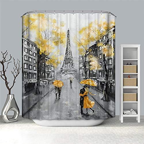 MALECUPWH Antimoho Impermeable Shower Curtain 240X200 Cm Poliéster Cortinas De Baño Textil Torre Eiffel con Anillas Cortina Ducha