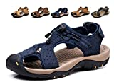 Sandalias Deportivas Hombres Verano Exterior Senderismo Zapatos Trekking Casual Zapatos de Montaña Cuero Sandalias de Playa(Azul,47/48 EU,29.5CM De talón a Dedo del pie