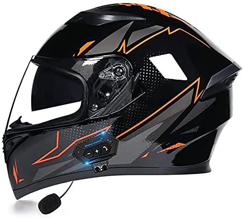 Bluetooth Casco Integral Casco Moto Multiuso con Visera Solar Doble Casco ProteccióN Aprobado por ECE Adecuado para Motocicleta Scooter Ciclomotor (Color : 4, Size : L)