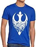 style3 Superioridad Alianza Rebelde Camiseta para Hombre T-Shirt Xwing ywing yavin, Talla:2XL, Color:Azul