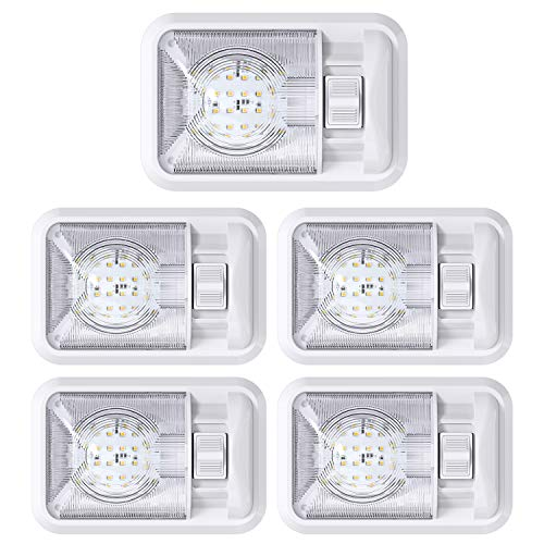 Leisure LED 5 Pack 12V Led RV Ceiling Dome Light RV Interior Lighting for Trailer Camper with Switch, Single Dome 300LM (Natural White 4000-4500K, 5-Pack)